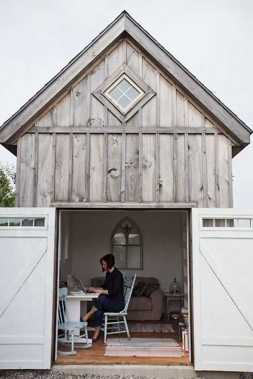 """Layne Beckner Grime Ann Voskamp, of North Perth, Ontario, has her own writing cabin right in her backyard. """"That's the best part of this..."""" she said, """"This is a completely fluid experience. The kids can come here."""" Her book One Thousand Gifts, has been on the New York Times bestseller list for months."""